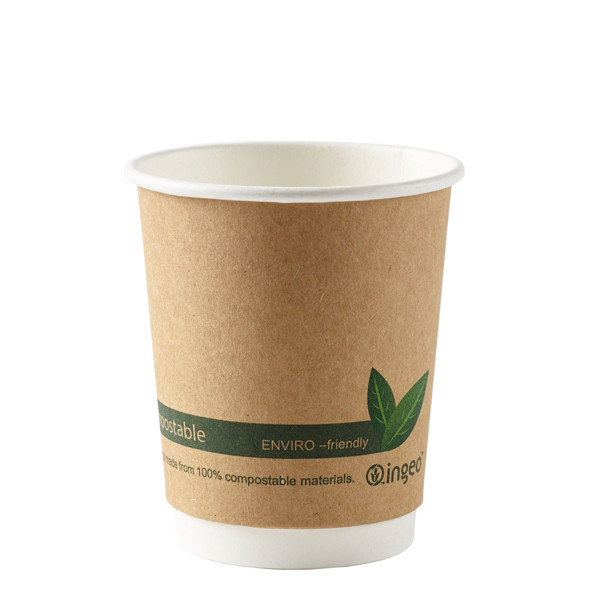 Kraft Compostable PLA Double Walled Hot Cup